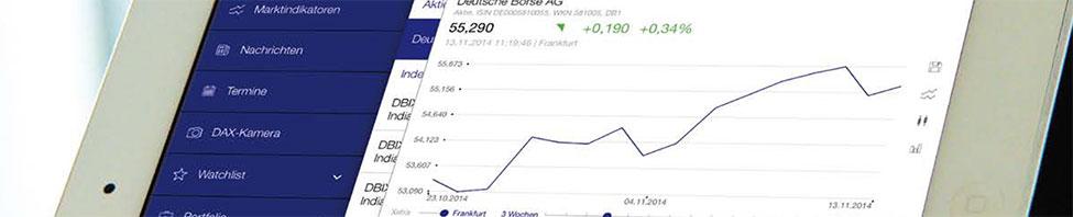 Boerse Frankfurt App Seite von Aktien-Chart der Deutschen Boerse AG