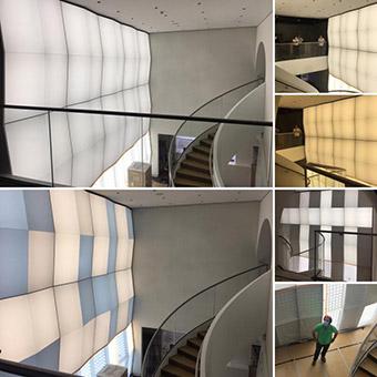 Kollage aus mehreren Bildern mit der eingebauten LED Tafel