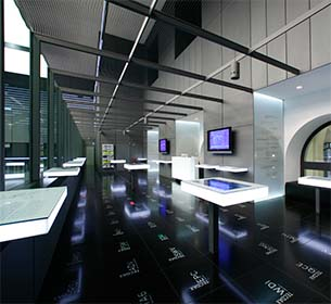 Überblick der Besuchergalerie der Börse von innen