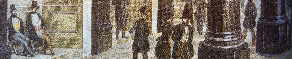 Historische Abbildung der Börse in Frankfurt