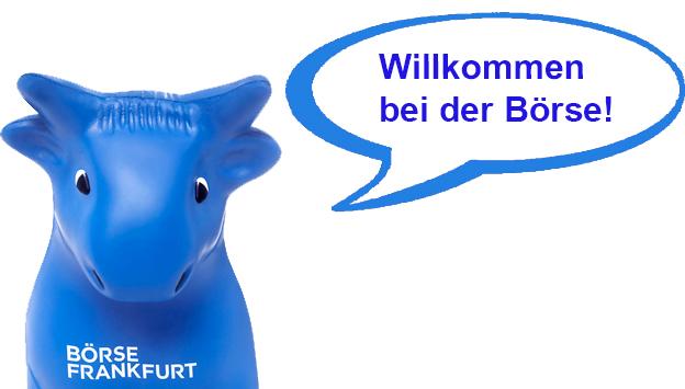 """Boerse Frankfurt blauer Bulle mit dem Text in der Sprechblase """"Willkommen bei der Börse"""""""