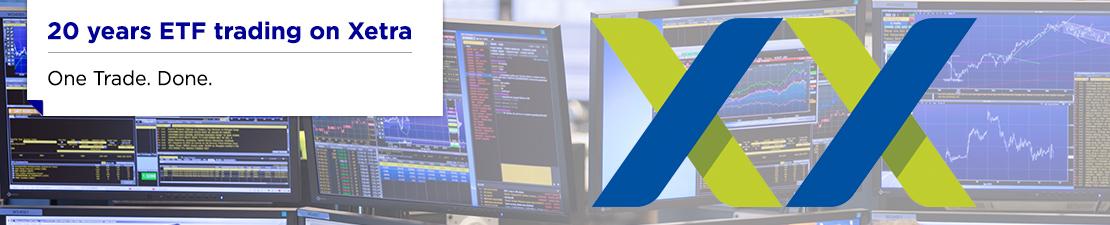 """Banner mit der Überschrift """"20 years ETF trading on Xetra - One Trade. Done"""""""