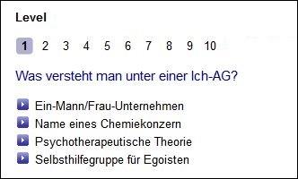 Abbildung von Quizfrage von Börse Frankfurt