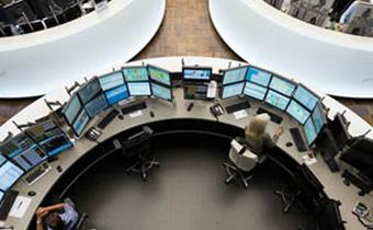 Blick auf Handelssaal von oben