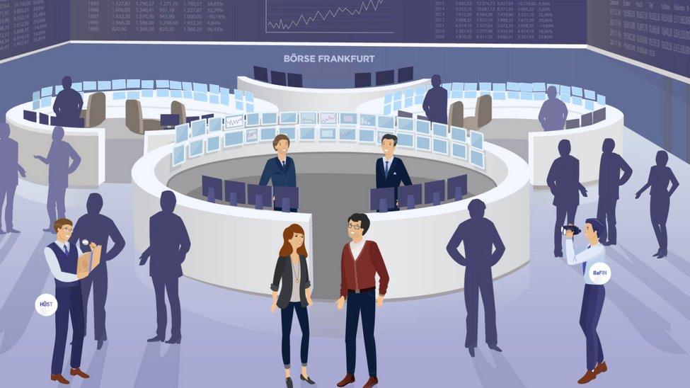 Darstellung des Börsensaals mit beschäftigten Menschen
