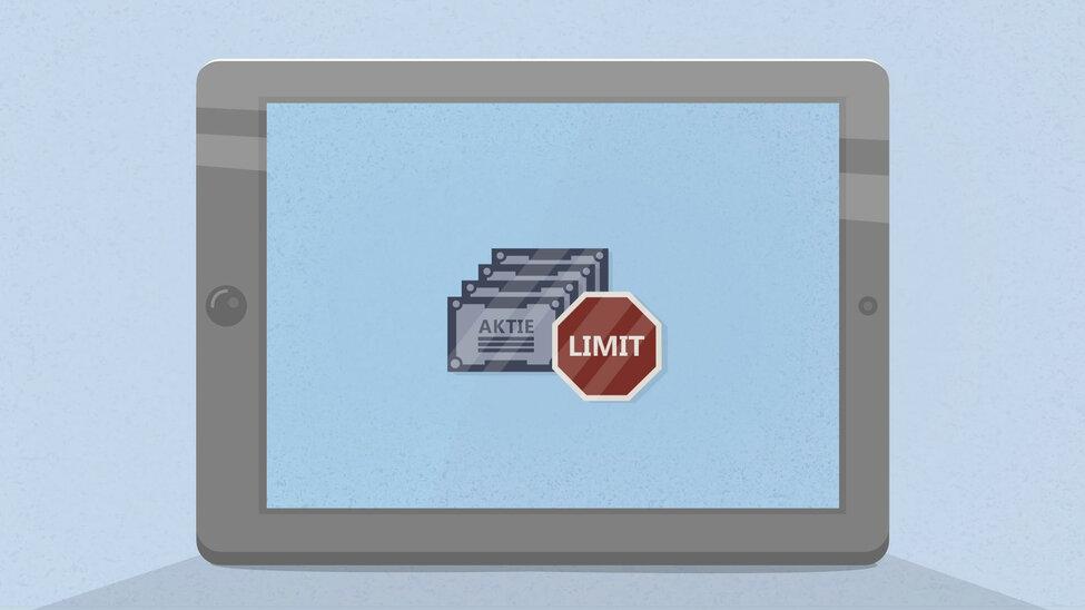 """Abbildung von mehreren Aktienscheinen mit dem """"Limit"""" Schild"""