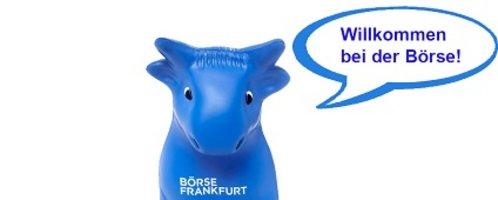 """Blauer Bulle aus Gummi mit der Sprechblase """"Willkommen bei der Börse!"""""""