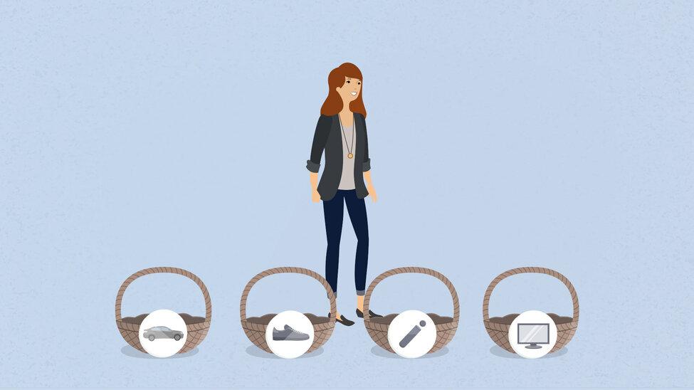 Abbildung von Frau die vor den Körben mit jeweils unterschiedlichen Symbolen steht