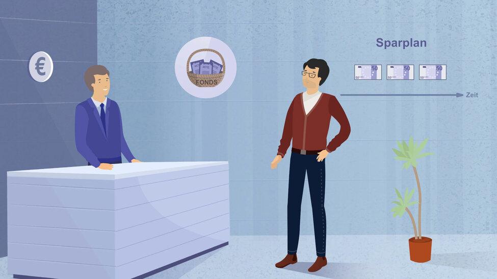 Darstellung eines Fondsmanagers mit Kunden