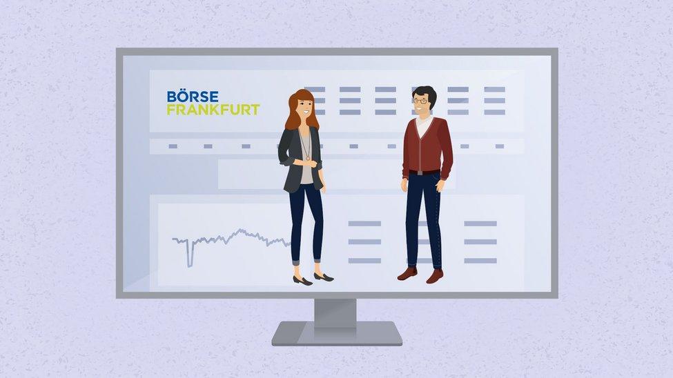 """Anna und Michael stehen im Monitor auf der """"Börse Frankfurt"""" Website"""