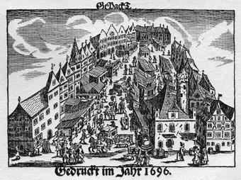 Alte schwarzweisse Zeichnung von Frankfurt am                     Main im Jahr 1696