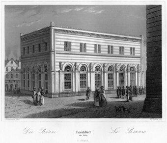 Alte schwarzweisse Zeichnung von der Börse in Frankfurt am Main